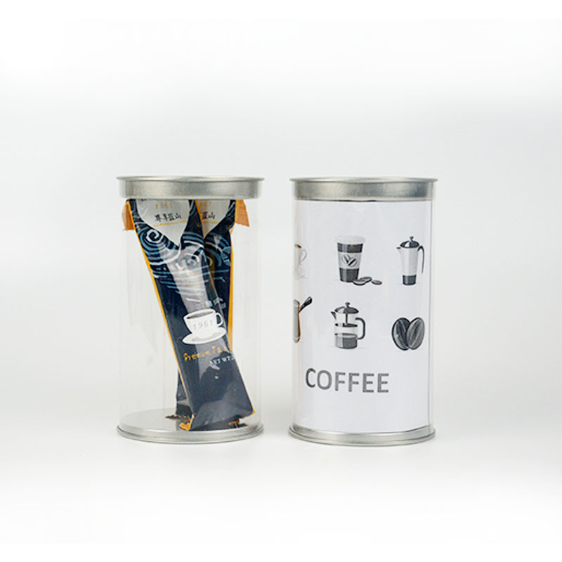 7.2*11.5cm Plastic coffee tube packaging with tin lids