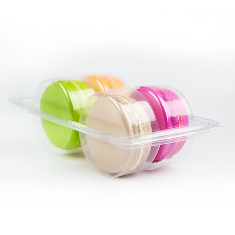Customized clear PET 4 Macarons blister packaging