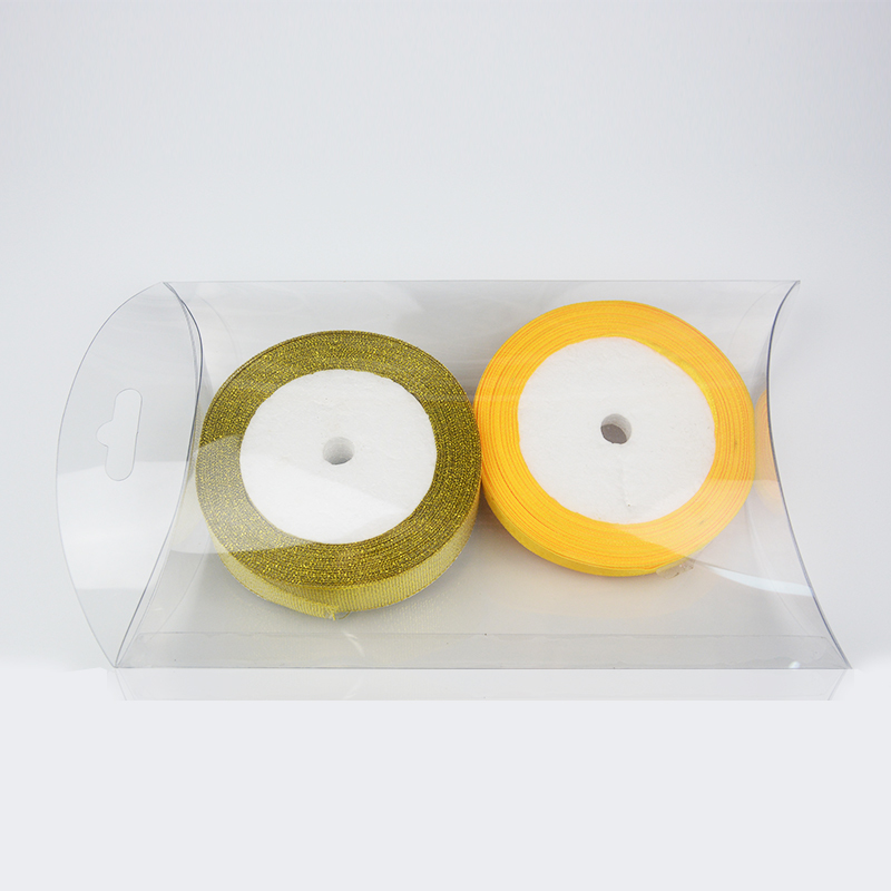 Clear pillow shaped plastic box packaging with logo printed accept